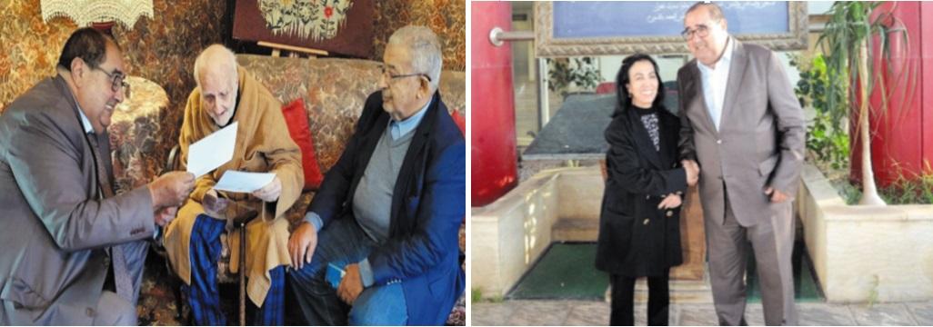 Le Premier secrétaire rend visite à Mohamed Lahbabi et reçoit la veuve de Fqih Basri