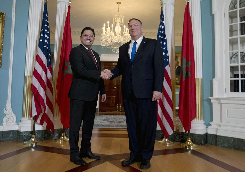 Poignée de main à Washington entre Nasser Bourita et Michael Pomeo.