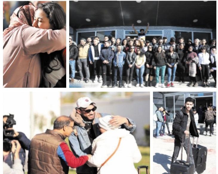 Les retrouvailles tant attendues entre les  étudiants rapatriés de Chine et leurs familles