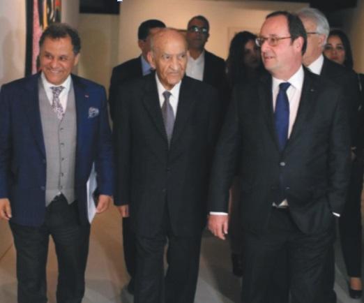 Abderrahmane El Youssoufi aux côtés de François Hollande et Mehdi Qotbi au MMVI.
