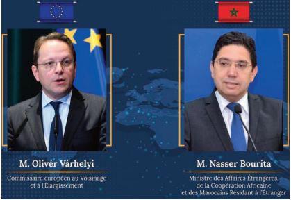 Nasser Bourita s'entretient avec le Commissaire européen à l'élargissement et à la politique de voisinage