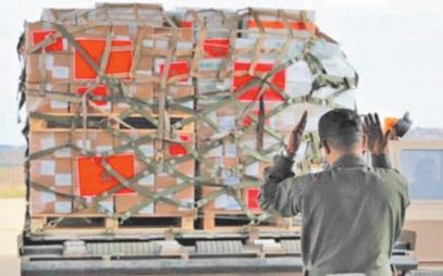 Arrivée au Caire de l' aide humanitaire marocaine au peuple palestinien