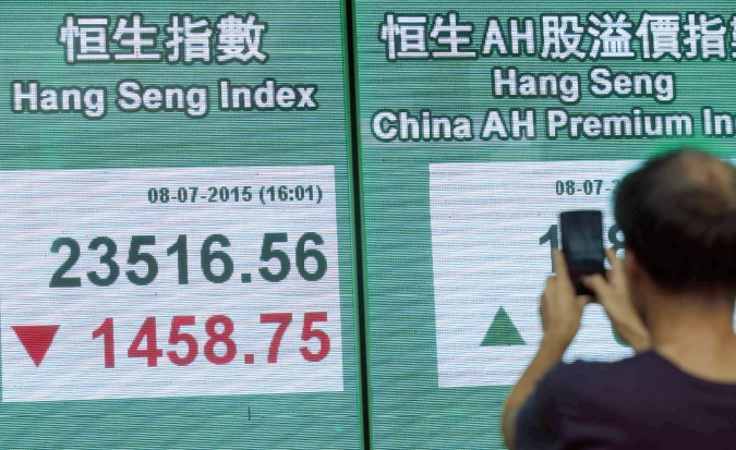 Les Bourses chinoises, en chute libre