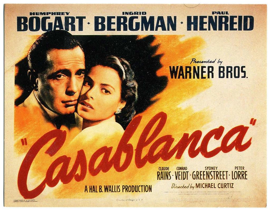 «Casablanca», neuvième meilleur film américain de tous les temps