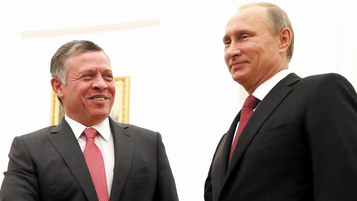 Poutine reçoit Abdallah II et le Prince héritier d'Abou Dhabi au salon aéronautique international Maks-2015