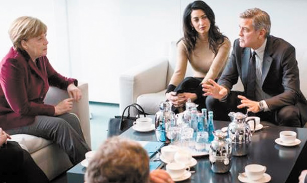 George Clooney à la rencontre de Merkel pour évoquer la crise des réfugiés