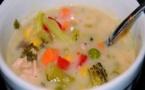 Recette : Soupe d'avoine aux champignons et poulet