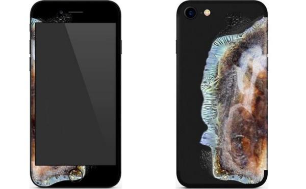 Une coque Iphone lui donne le look d'un  Galaxy note 7 après explosion