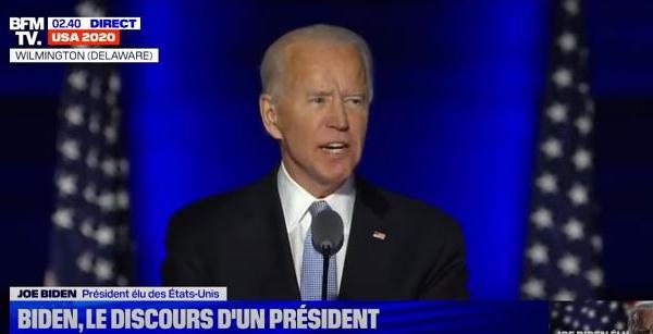 Joe Biden élu président: son premier discours en intégralité
