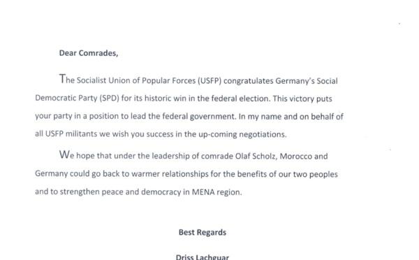 Les félicitations de l'USFP au Parti social-démocrate allemand