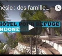Indonésie : des familles réfugiées dans le jardin d'un hôtel de luxe